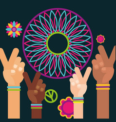 raised hands peace and love dream catcher free vector image