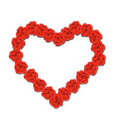 red flower heart vector image