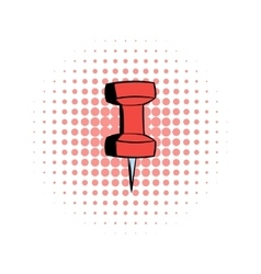 Red push pin comics icon vector image