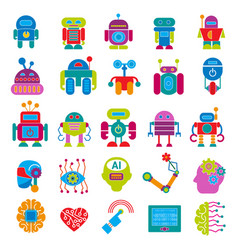 robot technology design futuristic kid flat vector image