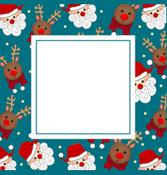 santa claus and reindeer on blue banner card vector image