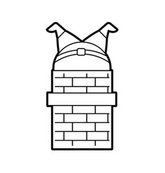 Santa claus stuck in the chimney on the roof vector