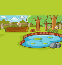 Scene with small pond in park vector