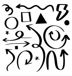 Set arrow doodle on white background hand vector