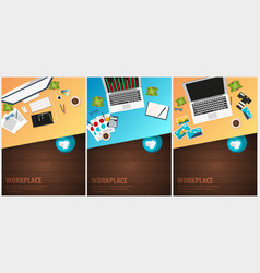 Set banners of freelance workplace office co vector