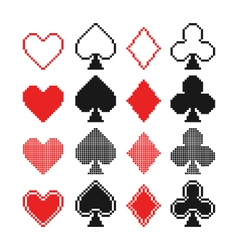 Set of pixel hearts clubs spades and diamonds ic vector