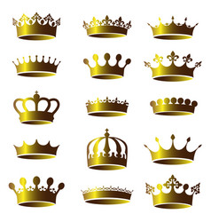 Set of vintage golden crown icons vector