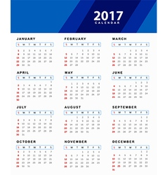 Simple 2017 Calendar vector image