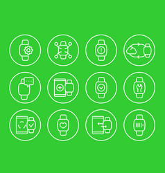 Smart watch wearable devices linear icons set vector