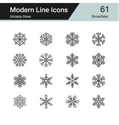 snowflake icons modern line design set 61 vector image