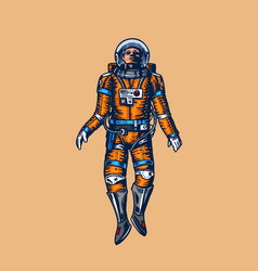 soaring spaceman in space astronaut in solar vector image