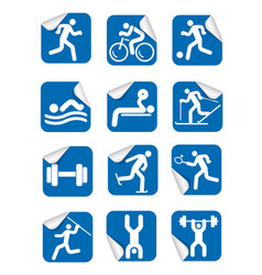 Stickers with fitness sport icons vector