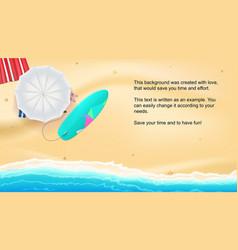 Summer sand beach on seashore umbrella vector