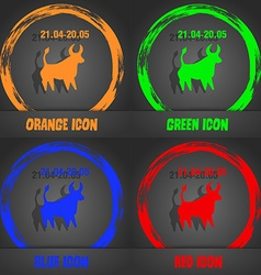 Taurus icon Fashionable modern style In the orange vector image