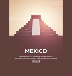 Travel poster to mexico landmarks silhouettes vector