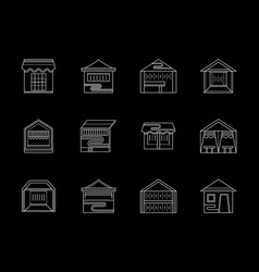 Types of trade tent flat white line icons vector