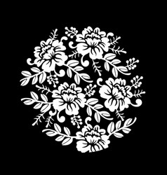 Vintage black and white floral crown summer vector