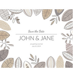 wedding invitation card with forest leaves floral vector image