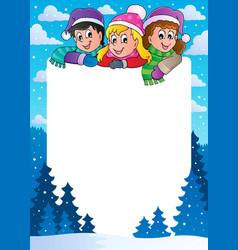 Winter theme frame 1 vector