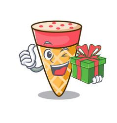 With gift ice cream tone mascot cartoon vector