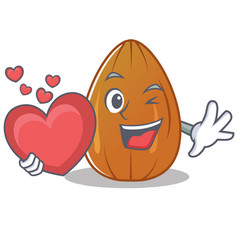 With heart almond nut character cartoon vector