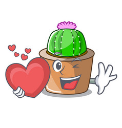 With heart cartoon star cactus in flower pot vector