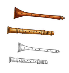 Wooden flute folk musical instrument sketch vector