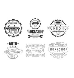 workshop repair service premium retro labels set vector image
