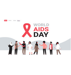 World aids day awareness red ribbon sign mix race vector