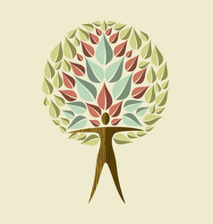 Yoga tree concept woman doing relaxation pose vector