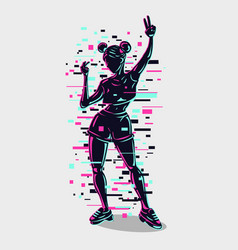 Young girl silhouette with glitch style effect vector