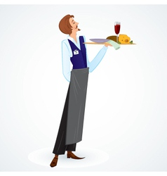 Young waiter vector