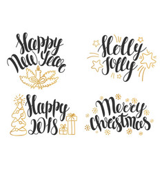 christmas and new year lettering collection vector image vector image