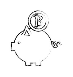 figure nice pig to save coin currency broken vector image vector image