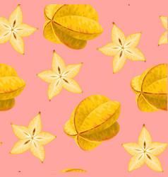 seamless carambola fruit vector image vector image