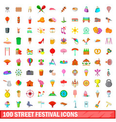 100 street festival icons set cartoon style vector image vector image