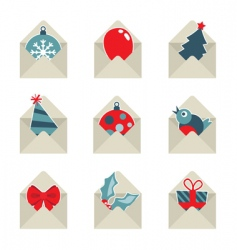 Christmas mail icons vector image