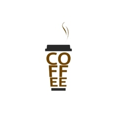 Coffee cup logo isolated paper mug text vector image