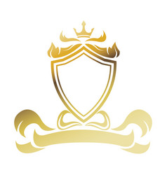 golden shield ribbon heraldic luxury frame vector image