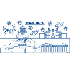 israel haifa winter city skyline merry christmas vector image vector image