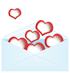Red hearts and envelope vector image