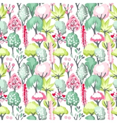 Seamless pattern with blossoming trees vector image vector image