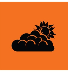 Sun behind clouds icon vector image vector image