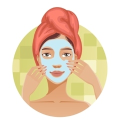 Woman with a towel puts a mask on her face vector image
