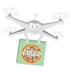 Funny drone pizza isolated vector