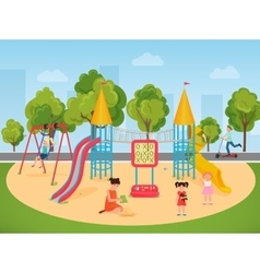 Kids children playing in the playground vector image vector image