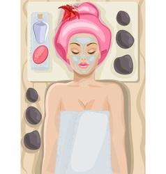 Lady enjoying a spa cartoon vector