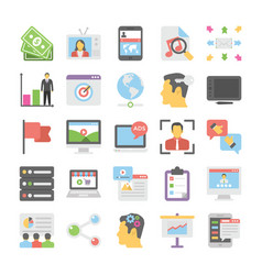 seo and digital marketing colored icons 9 vector image vector image
