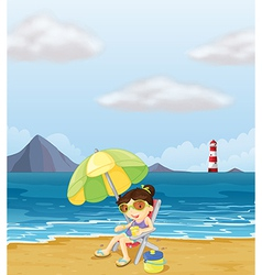 A girl relaxing at the beach vector image vector image