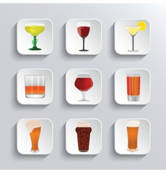 Alcohol and beer web icons set vector image